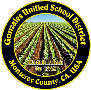 Round yellow and black logo for Gonzales Unified School